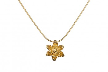 MANI PADMA - silver necklace with small lotus, gold plated, chain 42 cm