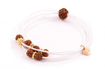 KANYA - Small rubber band, gold plated silver, Rudraksha seed