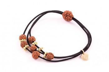 KANYA - Gumička malá černá, pozlacené stříbro, semeno Rudraksha