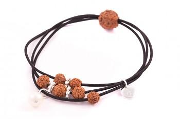 KANYA - Gumička velká černá, stříbro, semeno Rudraksha, říční perla