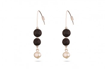 SELÉNÉ - Silver earrings, freshwater pearl, natural lava