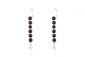 HESTIA - Silver earrings, freshwater pearl, natural lava
