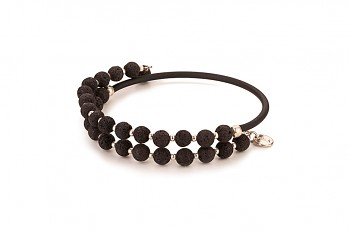 EOS - bracelet, with rubber tube, lava and silver