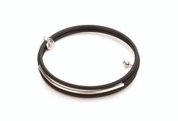 NYX - bracelet with rubber and silver tube