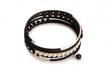 APATE - náramek z lávy, říční perly, kaučuku se stříbrnou trubičkou