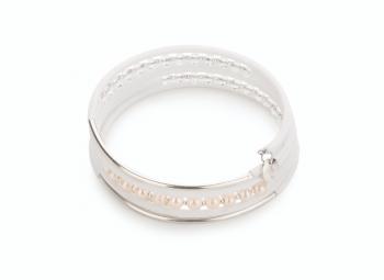 PSYCHE - náramek z křišťálu, říční perly, kaučuku se stříbrnou trubičkou