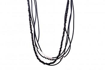 HARMONIA - Silver necklace, lava, freshwater pearl, rubber, silver tube
