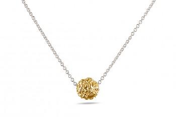 BHUSANA - stříbrný náhrdelník, stříbrná pozlacená Rudraksha