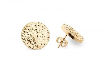 SHAMA - Gold plated earrings, structure Rudraksha