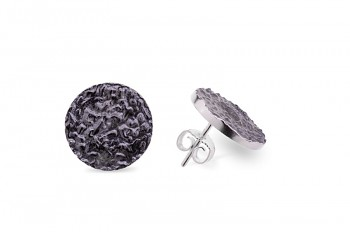 SHAMA - Silver earrings, structure Rudraksha, black patina
