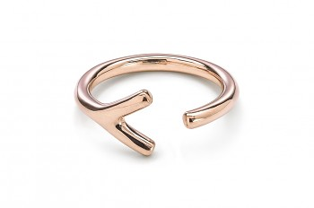 WAI Ring Y - Silver ring, rose gold plated