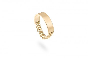 MOONA - Stříbrný prsten, řetízky, pozlacený