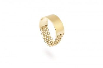 FULEA - Silver ring, chains, gold plated