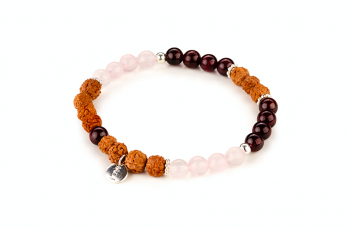 LOMBOK - dedicated to the desire for LOVE, garnet, rose quartz, rudraksha, silver