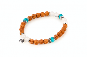 DARMA - dedicated to the desire for SERENITY, turquiose, moonstone, rudraksha, silver