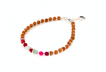 BATUKARU - dedicated to the desire for the INNER STRENGTH, aquamarine, spinel, rudraksha and sliver