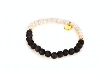 TIRTA EMAS - zasvěcen touze po KRÁSE, říční perla, láva a pozlacené stříbro