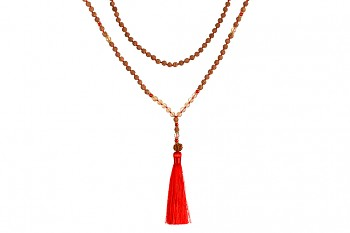 MALA PURA - smoky quartz, coral, rudraksha and gold platted silver
