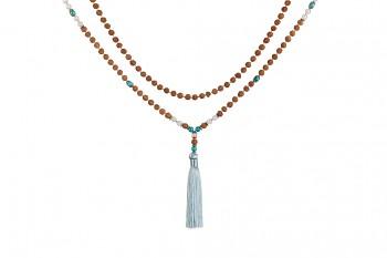MALA PIRUS - turqoise, moonstone, rudraksha and silver