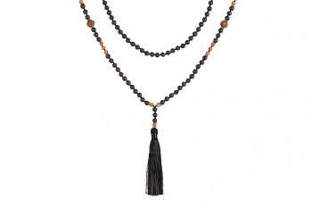 MALA MERAPI - zasvěcena VNITŘNÍ SÍLE, černý tassel, láva, rudraksha a stříbro