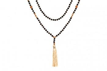 MALA MERAPI - zasvěcena touze po VNITŘNÍ SÍLE, béžový tassel, láva, rudraksha a stříbro