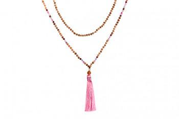 MALA BROMO - zasvěcena touze po KRÁSE, růžový tassel, akvamarín, spinel, rudraksha a stříbro