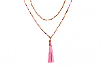MALA BROMO - pink tassel, aquamarine, spinel, rudraksha and silver