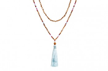 MALA BROMO - light turqoise tassel, aquamarine, spinel, rudraksha and silver
