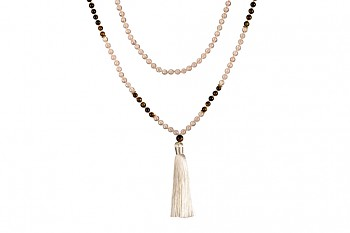 MALA GILI - rose quartz, tiger eye and gold plated silver