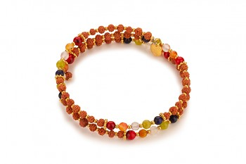 SHINTA - dedicated to the desire for BEAUTY, red coral, orange coral, olivine, agate, morganite, rudraksha and gold plated silver