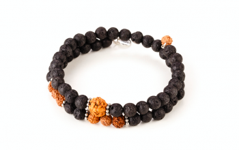 PRIA  - dedicated to the desire for INNER STRENGTH, lava stone, rudraksha and silver