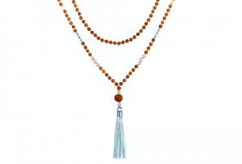 MALA TARITATU - zasvěcena touze po KRÁSE, akvamarín, křišťál, říční perla, rudraksha a stříbro