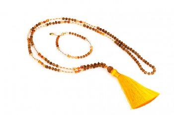 CITRA & MATAHARI set - zasvěcen touze po ŠTĚSTÍ s achátem, křišťálem, rudrakshou a pozlaceným stříbrem