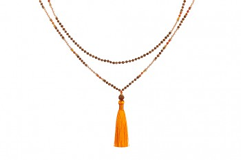 MALA MATAHARI - agate, crystal, rudraksha and gold platted silver