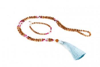 BATUKARU & BROMO s tyrkysovým tasselem set - zasvěcen touze po KRÁSE, akvamarín, růžový spinel, rudraksha a stříbro
