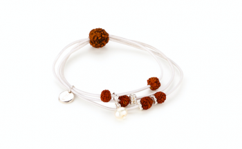 KANYA - Gumička bílá, stříbro, semeno Rudraksha