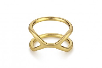 CUFF Ring - Stříbrný prsten, pozlacený, mat