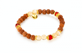 PURA - dedicated to the desire for HAPPINESS, red coral, smoky quartz, rudraksha, gold platted silver