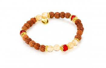 PURA - zasvěcen touze po ŠTĚSTÍ, červený korál, kouřový křemen, rudraksha, pozlacené stříbro