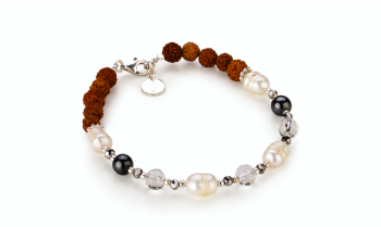 BESAKIH - pearls, pyrite, hematite, smoky quartz, rudraksha and silver