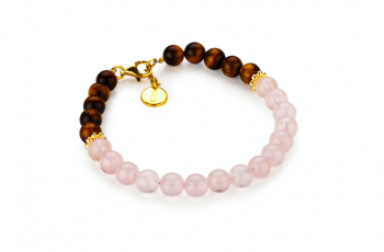 GILI - tyger eye, rose quartz and gold platted silver