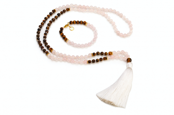 GILI set - bracelet and mala necklace with rose quartz, tiger eye and gold platted silver