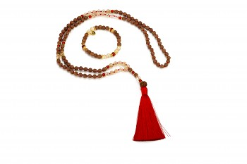 PURA set - bracelet and mala necklace with red coral, smokey quartz, rudraksha and gold platted silver