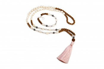 BESAKIH set - bracelet and mala necklace with pyrite, hematite, smokey quartz, freshwater pearls, rudraksha and silver