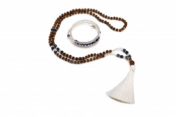 MURNI set - bracelet and mala necklace with sodalite, crystal, rudraksha and silver