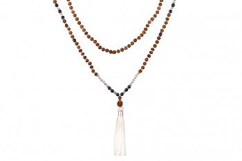 MALA MURNI - dedicated to desire for BEAUTY, sodalite, crystal, rudraksha and silver