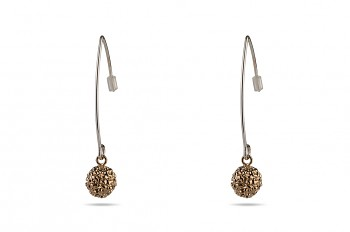 ABHARANA - Silver earrings, rose gold plated Rudraksha