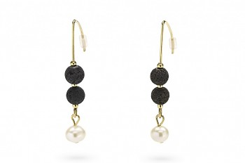 SELÉNÉ - Gold plated earrings, freshwater pearl, natural lava