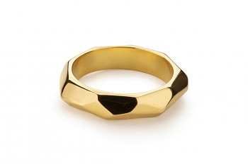 NOSHI Ring - silver, gold plated, glossy