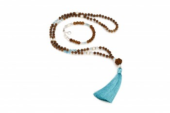 TARITATU set - zasvěcen touze po KRÁSE, perly, křišťál, akvamarín, rudraksha a stříbro